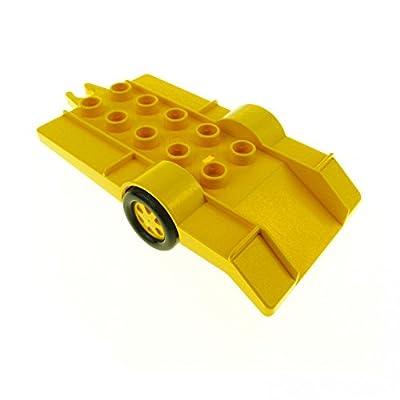 1 x Lego Duplo Anhänger gelb klein Auto Wagen Auffahr Rampe Trailer Feuerwehr Racing 2320