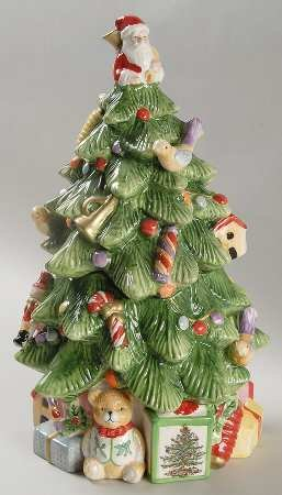 Spode Christmas Tree-Green Trim Figurine Cookie Jar & Lid, Fine China Dinnerware