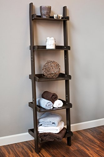 Espresso 5 tier leaning wall ladder bookcase (Narrow Espresso Bookcase compare prices)