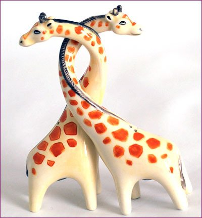 Giraffes Entwined- Designer Salt & Pepper set - Cruet by S&P, Enesco - Kitchenalia