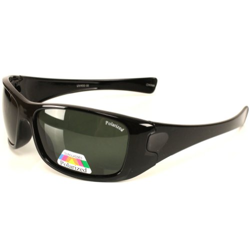 Men's Polarized Glare Block Driving Sunglasses Glossy Black Frame with Green Lens