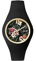 ICE-Watch - ICE.FL.COL.U.S.15 - Ice Flower - Colonial - Montre Femme - Quartz Analogique - Cadran Noir - Bracelet Silicone Noir