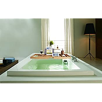 ModernTropic Bamboo Bathtub Tray and Caddy - Expandable Wooden Rack Holds Drink, Book/Tablet, Bath Accessories, Phone