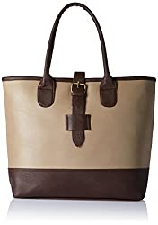 AlessiaWomen's Handbag (Beige and Dark Brown) (TY016B)