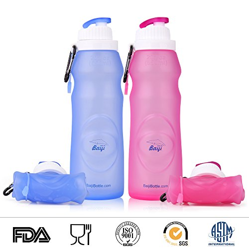 Baiji Bottle (Set of 2) Collapsible Silicone Water Bottles - Sports Camping Canteen 20 Oz. - Easy to Clean and Store