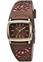 Kahuna Women's Quartz Watch with Brown Dial Analogue Display and Brown Leather Cuff KLS-0220L