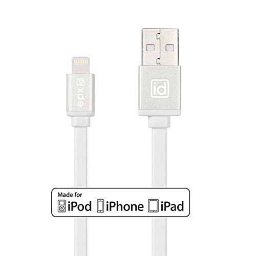 [Apple MFI Certified] epxid® Lightning to USB Cable 3.3ft/ 1m with Aluminum Finish and Flat Cable For Apple iPhone 6s, 6 Plus 5s 5c 5, iPad Pro Air 2, iPad mini 4 3 2, iPod touch 5 6/ nano 7(White) (Amazon Ipad 2 Cord compare prices)
