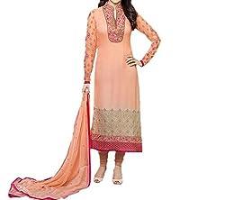 Paridhan Women's Georgette Unstitched Suit (SRPR 3576_Peach_Free Size)