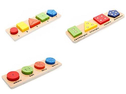 [kuro&jouet] 楽しく 学ぼう 木製 おもちゃ 玩具 3点セット 知育 幼児 男の子 女の子 積み木 はめこみ 形合わせ
