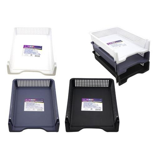 Set of 6 Sturdy Plastic Front Loading Document Letter Organizer Tray, Stackable Office Desktop Paper Holder, Black White And Grey, 2 of Each Color (Front Loading Storage Bins compare prices)