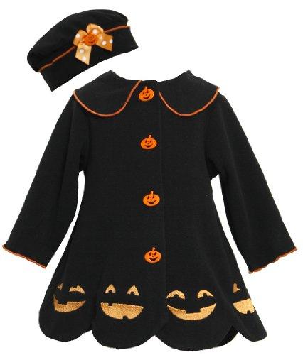 Bonnie Jean Girls Jack-O'-Lantern Halloween Winter Coat & Hat, Black, 6-9M front-1041210