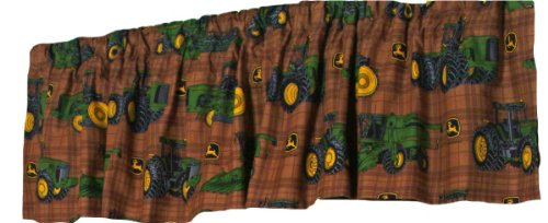 John Deere Bedding Traditional Tractor And Plaid Valance, 84 By 15-Inch