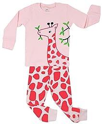 Elowel Kid\'s Giraffe Pajama Set, Pink, 18-24 Months