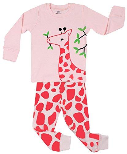 Elowel Little Girls Giraffe 2 Piece Pajama Set 100% Cotton (Size6M-8Y) dora the explorer little girls ballet dance pajama set