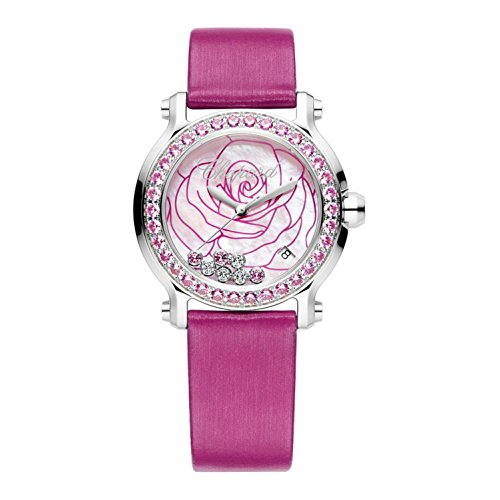 Chopard Women's Happy Sport 36mm Pink Satin Band Steel Case Sapphire Crystal Quartz Watch 278475-3030