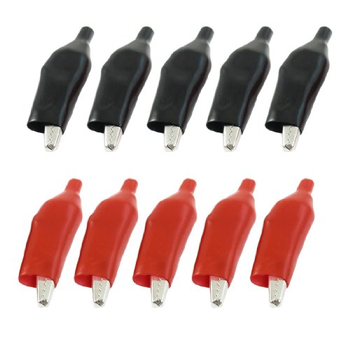 10 Pcs Red Black Insulated Alligator Clips Test Lead Crocodile Clamps