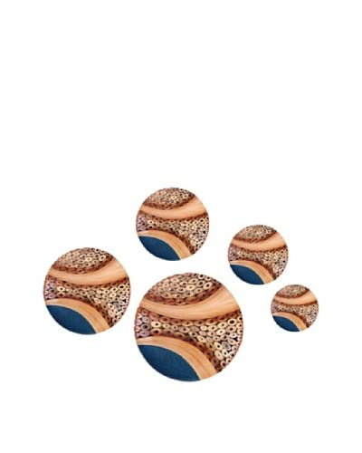Eunique Set of 5 Sorek Wall Decor Buttons, Tan/Brown/Blue