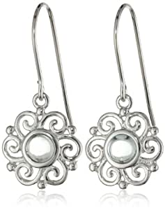 Sterling Silver Aquamarine Celtic Round Drop Earrings