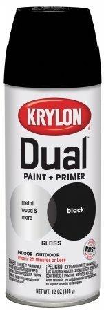 Krylon 8801 'Dual' Gloss Black Paint and Primer - 12 oz. Aerosol