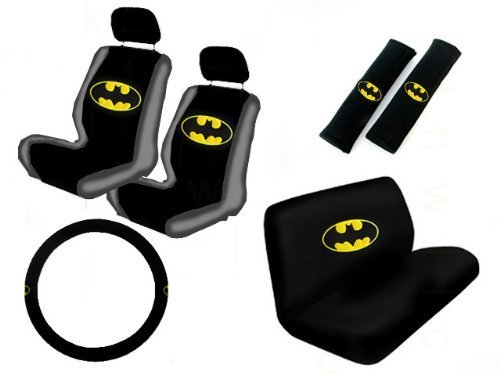 11Pc Classic Batman Logo Low Back Seat Covers Bench Seat Cover Shoulder Pads Steering Wheel Cover Head Rest Covers Combo Kit front-74258