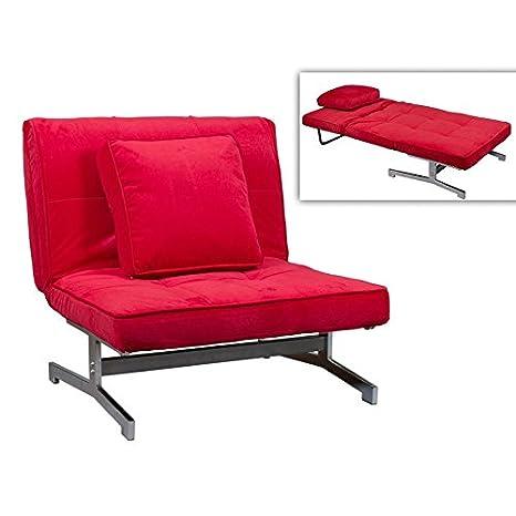 Sofá cama de tela rojo