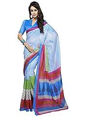 Inddus Exclusive Women Bhagal Puri Silk Printed Blue Saree