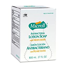 Micrell 9757-12 Antibacterial Lotion Soap, 800 mL Refill (Pack of 12)