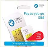 Tesco Mobile Sim (Preloaded with £30 Free Credit) - Trio Sim - Triple Credit Offer - Unlimited Calls, Texts and Data -> Fits All Mobiles Device, Androids, iPads, Galaxy Tabs, Tablets and Wifi Dongles