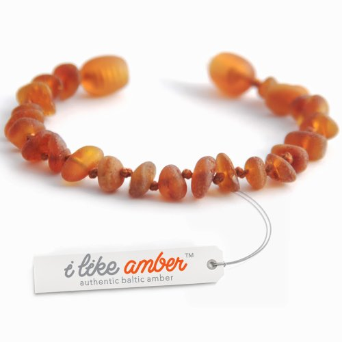 Amber Teething Anklet Bracelet - size from 13 to 18 cm - 100% Raw Unpolished Genuine Baltic Amber - Top Quality on Amazon + Free Organza Gift Bag - Baby Child