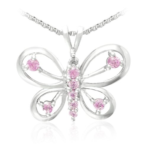 Sterling Silver Round Shaped Created Pink Sapphire and Diamond Butterfly Pendant Necklace (0.003 cttw, I-J Color, I1-I2 Clarity), 18