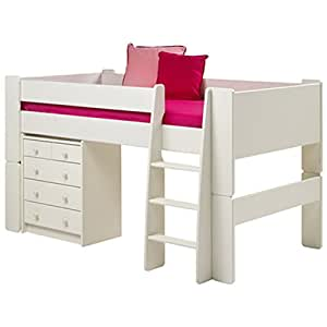 steens furniture glossy white childrens mid sleeper 3ft. Black Bedroom Furniture Sets. Home Design Ideas