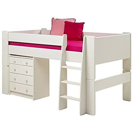Steens Furniture Glossy White Childrens Mid Sleeper - 3FT Single Kids Bed Frame Only - With Ladder