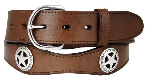 "Western Star Conchos Leather Belt Black Brown 1-1/2"" Wide (34, Brown)"