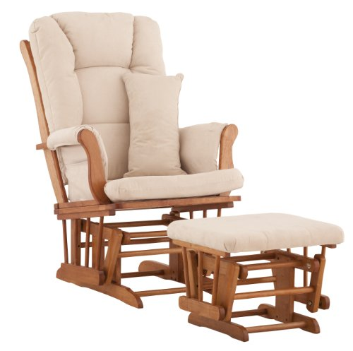 Best Price Stork Craft Custom Tuscany Oak Finish Glider and Ottoman with Free lower lumbar pillow, B...