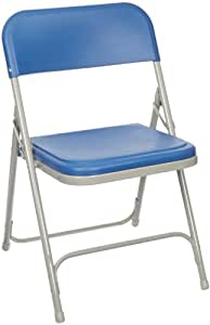 National Public Seating 800 Series Steel Frame Premium Light Weight Plastic Seat and Back Stacking Folding Chair with Double Brace, 480 lbs Capacity, Blue/Gray (Carton of 4)