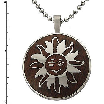 Stainless Steel Sun & Wood Inlay Pendant on 22 Inch Bead Chain