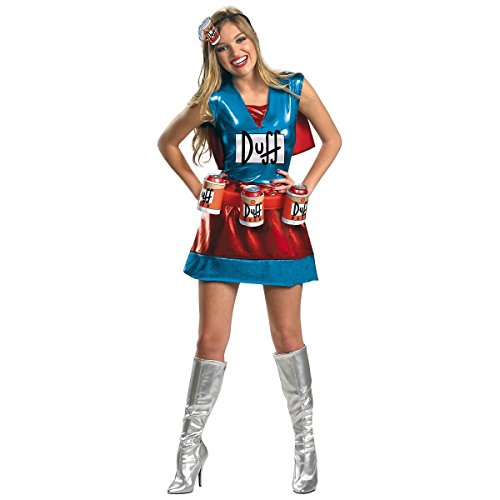[GSG Duffwoman The Simpsons Adult Women Sexy Funny Hero Halloween Costume] (Spider Girl Bodysuit Costume Small)