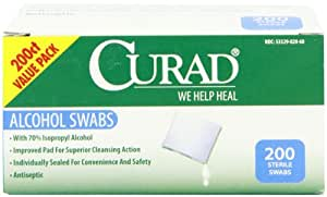Curad Alcohol Swabs Antiseptic Wipes, 200 Count