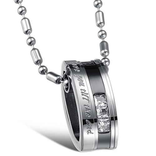 "Moandy Jewelry Stainless Steel Men'S Fashion Necklace ""Love You Till The End"" Engraved Pendants Cubic Zirconia Neckwear Black"