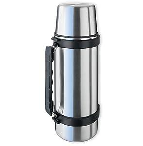 Isosteel VA-9553Q Vakuum-Isolierflasche 1,0 L aus 18/8 Edelstahl mit Quickstop-Einhandausgießsystem, Trinkbecher und Griff