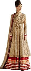 Sargam Fashion Embroidered With Embellished Beige Georgette Traditional Wedding Wear Lehenga Choli Set. - SRSF30
