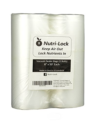 Nutri-Lock Vacuum Sealer Bags. 2 Pack 8x50 Commercial Grade Sealer Rolls for FoodSaver, Sous Vide (Commercial Vacuum Sealing Machine compare prices)