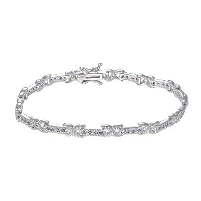 1/2 CT Blue Diamond Bracelet in Sterling Silver