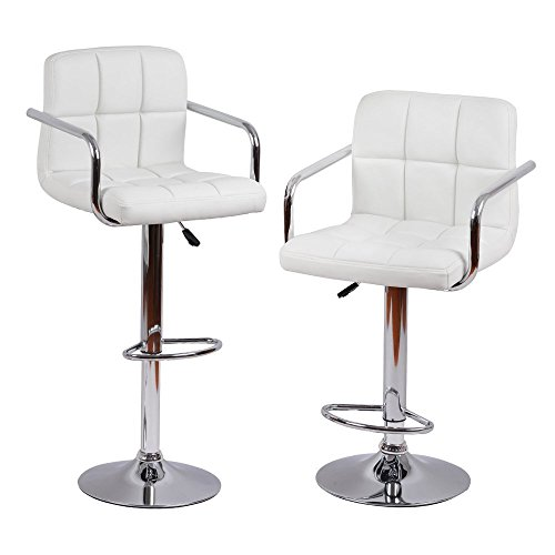 MBTC Cadbury Bar stool / Chair With Handrest In White ( Set Of 2 )