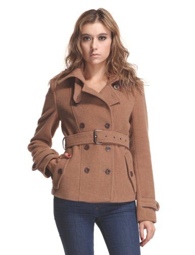 Zareen by BC24 Women's Wool Short Coat with Belt (X-Small, Camel)