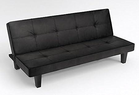 Diseño con texto en piel sintética de color negro Click Clack sofá cama sala de estar