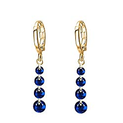 Sorella'z Blue Golden Brincos Rhinestone Earrings