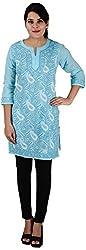 Drishti Lucknowi Chikan Women's Cotton Kurta (DLC-K03, Blue, L)