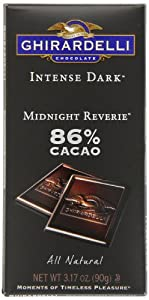 Ghirardelli Chocolate Intense Dark Bar, Midnight Reverie 86% Cacao Bar, 3.17-Ounce Bars (Pack of 6)
