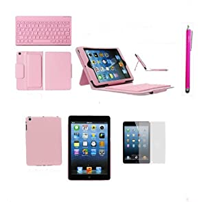 6 in 1 Wireless Bluetooth Pink PU Leather Keyboard Case with Stand + Pink Touch Screen Stylus Pen + 3 x Clear LCD Screen Protector + Pink TPU Soft Gel Case for Apple iPad mini